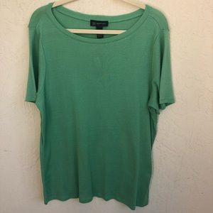 INC Woman Plus Size 1X Green Top Short Sleeves